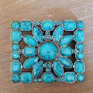 Vintage Turquoise and Silver Toned Belt Buckle
